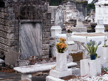 Travel-New Orleans Cemetary-Louisiana. New Orleans, Louisiana Cemetary with Tombs and Statues made of Marble Royalty Free Stock Photography