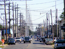 Travel-New Orleans-Electrical Wires on Street. Travel-Louisiana, New Orleans, Environmental, RF Radiation and Energy Pollution, Street in New Orleans showing Stock Photo