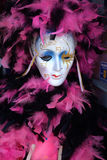 Travel-New Orleans-Mardi Gras Mask and Feathers. A Ceramic Mask and purple feathers Mardi Gras Mask Royalty Free Stock Images