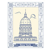 Travel New York  Thin line New York  tourist destination icon in rectangle Royalty Free Stock Photography