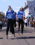 Travel-NewOrleans-Louisiana-Mardi Gras-Parades-Masker on Stilts. New Orleans Madi-Gras Parade Maskers on Stilts Stock Photos