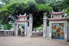 Travel in Ngoc Son Temple at Hanoi Vietnam. Being built on the Jade Islet and dedicated to Confucian and Taoist philosophers and the national hero, Trần H royalty free stock images