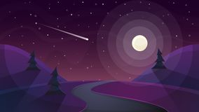 Travel night cartoon landscape. Fir, comet, star, moon, road ill. Travel night cartoon landscape. Fir, comet, star, moon road illustration Vector eps 10 Stock Photo