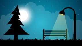 Travel night cartoon landscape. Fir, moon, shop, lantern illustration. Travel night cartoon landscape. Fir, moon, shop, lantern illustration Vector eps 10 Royalty Free Stock Photo