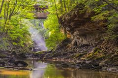 Travel, north east ohio, USA, sun rays, wild, jungle, forest, bridge, canyon, george, nature at its best stock photos