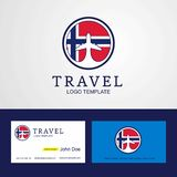 Travel Norway Creative Circle flag Logo and Business card design. This Vector EPS 10 illustration is best for print media, web design, application design user vector illustration