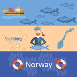 Travel Norway: sailors, ships, ocean, sea, fish, banners Royalty Free Stock Images