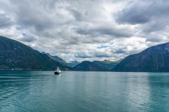 Travel in norwegian fjord. Water and sky in fjord tourism in geirangerfjord Royalty Free Stock Photos