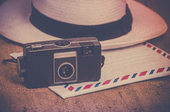 Travel nostalgic icons Stock Images