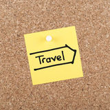 TRAVEL NOTE. Pinned on cork noticeboard Stock Images