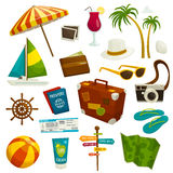 Travel object set  on white, cartoon vector illustration Royalty Free Stock Image