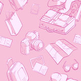 Travel Object Sketch Seamless Pattern Stock Photography