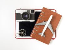 Travel objects and travel accessories for Travel cocnept. On white Stock Photo