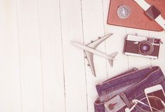 Travel objects and accessory on white wooden. Copy space Stock Images