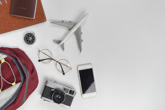 Travel objects for backpacker on white Stock Images