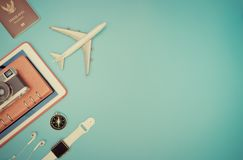 Travel objects and gadgets for travel concept Stock Photo