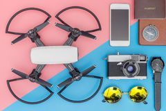 Travel objects and gadgets stuff. Top view Stock Image