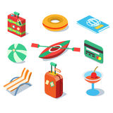 Travel Objects Icon Set Flat 3d Isomectric Modern. Design template vector Stock Images