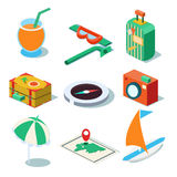 Travel Objects Icon Set Flat 3d Isomectric Modern. Design template vector Royalty Free Stock Photos