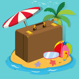 Travel objects on the island Stock Images