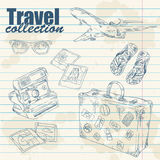 Travel objects lineart on notebook paper Stock Photos