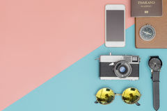 Travel objects with pastel copy space Stock Photos