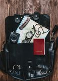 Travel objects in a suitcase. royalty free stock photos