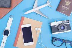 Travel objects and travel accessories for Travel concept Stock Image