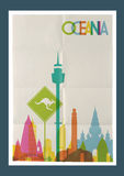 Travel Oceania landmarks skyline vintage poster. Travel Oceania famous landmarks skyline on vintage paper sheet poster design background. Vector organized in Stock Images