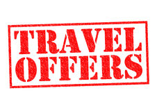 TRAVEL OFFERS. Red Rubber Stamp over a white background Stock Images