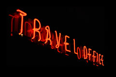 Travel office neon sign Stock Photo