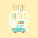 Travel often. Road trip. Vector EPS 10 hand drawn illustration Royalty Free Stock Images