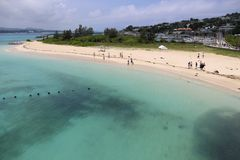 Travel in Okinawa, Japan. The beach located in Kourijima. the water is crystal-clear. you can swim here Stock Photo
