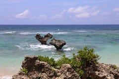 Travel in Okinawa, Japan. Love stone in kourijima. You can see this stone on beach, located in Northern Kourijima Stock Image