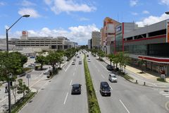 Travel in Okinawa, Japan. Photo taken on a bridge. busy road with many cars / vehicles. and good weather in May Stock Photography