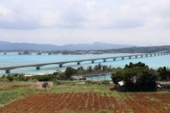 Travel in Okinawa, Japan. Photo taken after going through the long bridge to the island of Kourijima. you can see the crystal-clear sea water Royalty Free Stock Image