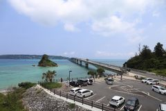 Travel in Okinawa, Japan. Photo taken before going through the long bridge to the island of Kourijima. you can see the crystal-clear sea water Stock Photo