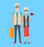 Travel in Old Age Vector Concept in Flat Design. Travel in old age vector concept. Flat design. Elderly couple with baggage and documents going on journey Stock Photography