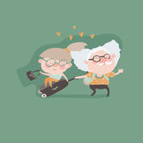 Travel in old age vector concept. Flat design. Elderly couple with baggage and documents going on journey. Grandparents summer vacation. Picture for travel Royalty Free Stock Images