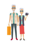 Travel in Old Age. Vector concept. Flat design. Elderly couple with baggage and documents going on journey. Grandparents summer vacation. Picture for travel Royalty Free Stock Image