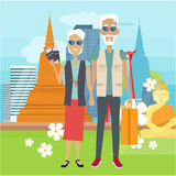 Travel in Old Age Vector Concept in Flat Design. Travel in old age vector concept. Flat design. Elderly couple with baggage and documents rest in Thailand Royalty Free Stock Photos