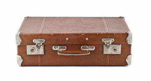 Travel  - old-fashioned scratched suitcase (trunk) Stock Images