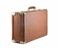 Travel - old-fashioned suitcase. Isolated over white stock photography