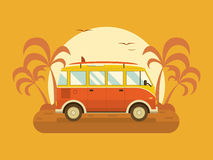 Travel Omnibus on Summer Beach Royalty Free Stock Photo