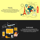 Travel and online shopping concept banners in line flat style. Vector illustration.Bbooking, ticket purchase, world Stock Images