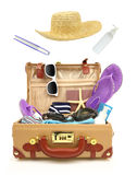 Travel open suitcase. Ready to travel open suitcase with summer equipment isolated Stock Image