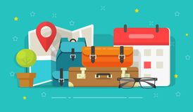 Free Travel Or Trip Destination Planning And Schedule Date Vector Illustration, Flat Cartoon Map Route With Luggage Or Stock Photo - 156455410