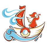 Travel by the orange boat. Line drawing festive. Vector drawing.  Linear pattern on a white background Stock Images