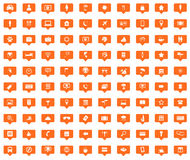100 Travel orange message icons set. Images in filled chat bubbles on white background Royalty Free Illustration