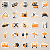 Travel orange stickers. Stock Photos